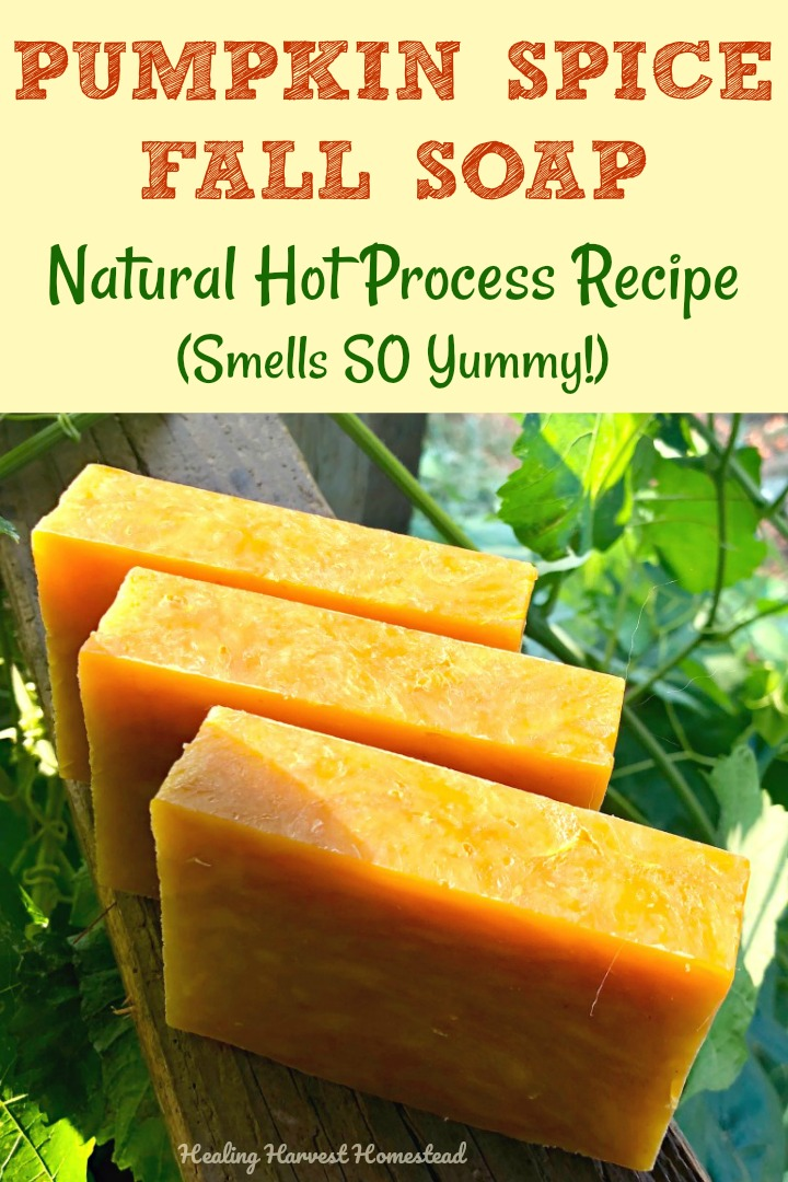 You'll love this natural, handmade hot process Pumpkin Spice Soap recipe. It smells incredible! Spicy, sweet--just like pumpkin pie. It has benefits for your Fall skin too! Brighten up your shower and skin routine with pumpkin soap, filled with exfoliating properties and anti-aging compounds. Easy! #hotprocesssoap #hotprocess #soap #soapmaking #soaprecipe #making #diy #handmade #natural #essentialoilsoap #Fallsoap #Fall #healingharvesthomestead #howtomake #antiaging #exfoliating #skincare
