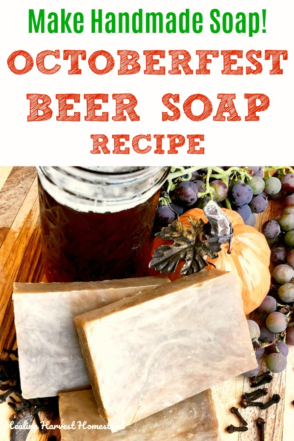 Want to make handmade soap this Fall? This hot process soap recipe is perfect! It's made using Autumn beer, and gives you a lovely caramel colored soap. You'll love it! Scented with essential oils, it's all natural, too. #hotprocesssoap #soap #handmade #handmadesoap #beersoap #Fall #Autumn #Fallsoap #homemade #beer #Octoberfest