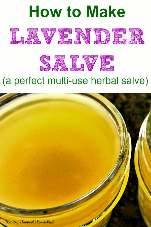 This easy herbal healing salve recipe is made with lavender flowers. It's a beautiful multi-use salve that can be used for wounds, headaches, skincare, soothing and softening, and more! You'll learn how to make an infused herbal oil and then to make your own wonderful salve! The benefits & uses of this salve make it worth making! And it's great for a diy gift too! #herbal #salve #healing #recipe #benefits #uses #lavender #infused #gift #giftidea #diygift