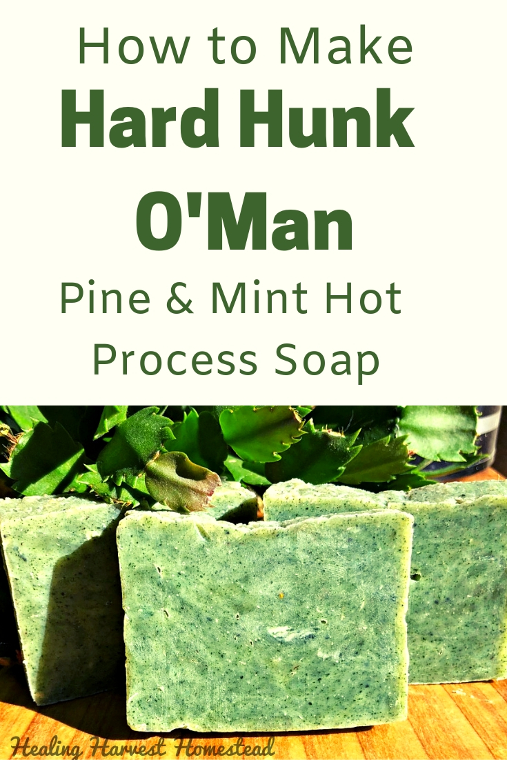 Need a great handmade soap recipe for gift giving this season? Here you go! Peppermint & Pine essential oils create the perfect scent for the man (or woman) in your life. Here are directions for natural, handmade soap that is perfect for your man. It's a hard bar, cleansing, yet conditioning at the same time with a nice lather. If you like the hot process method, you'll enjoy this soap! #healingharvesthomestead #hotprocess #soap #recipe #green #formen #handmade