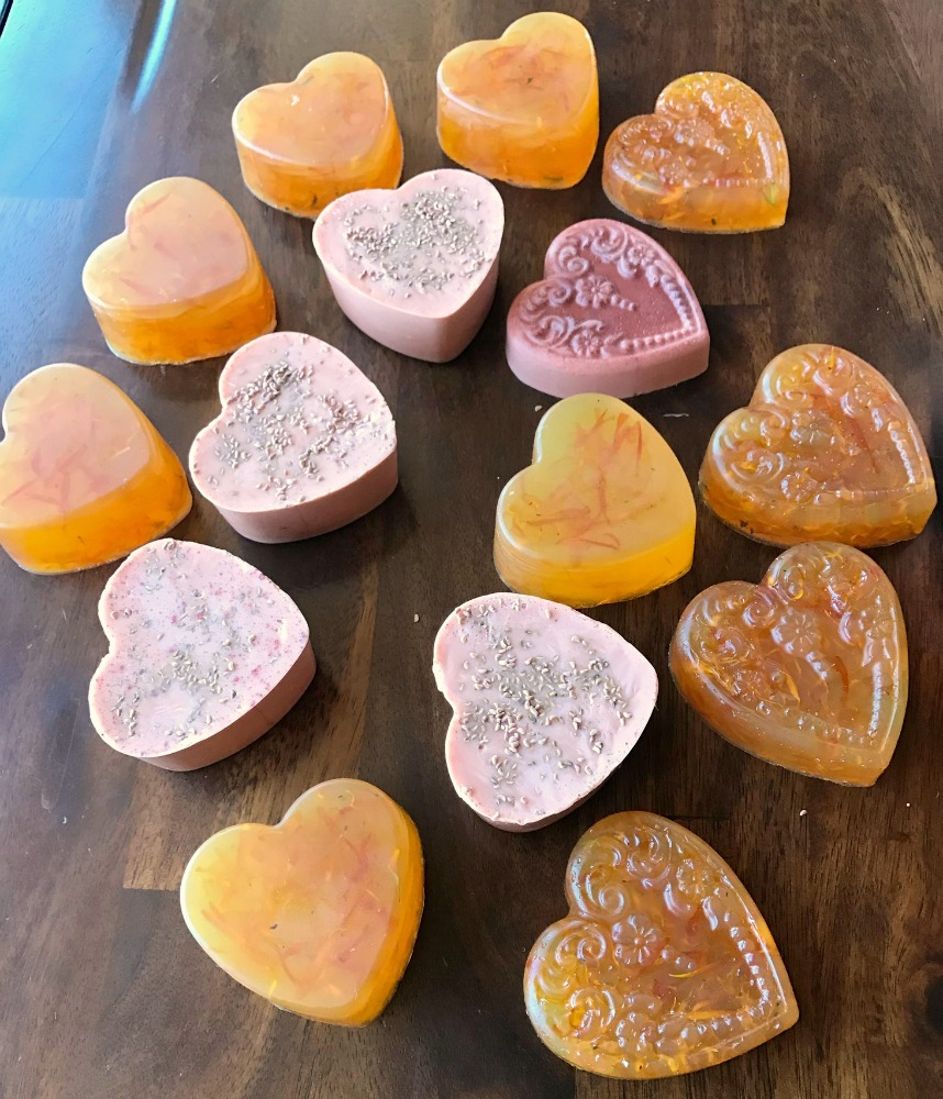 Here are some cute examples of melt and pour soaps. My grand daughter (age 8 at the time) helped me with these!