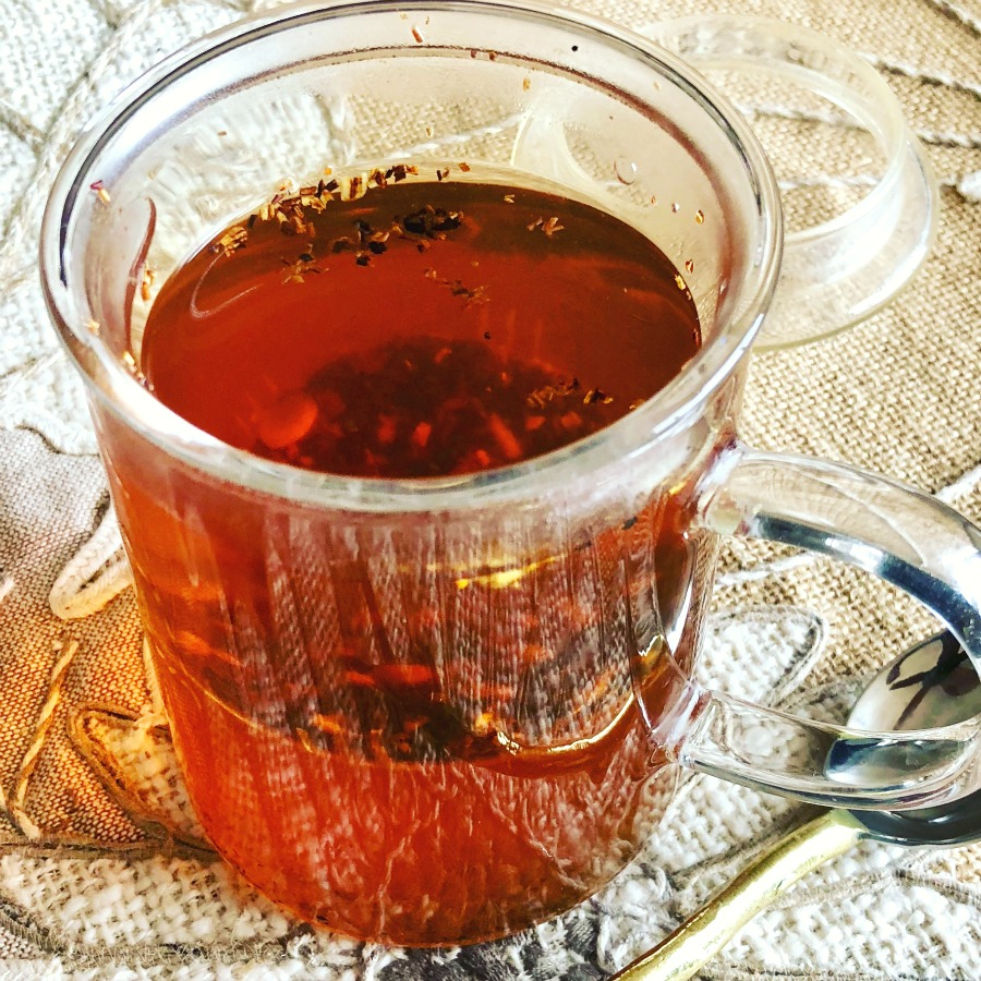 Here is a cup of herbal tea. I love these  tea infuser cups  because they make the process perfectly easy for just one cup of tea.