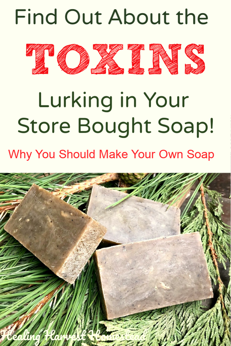 "Did you know that when you are slathering that store-bought soap all over your body (or your child's) you are putting toxic chemicals on your skin—which sucks them into your body? That's right! Find out about these poisons in commercial ""soaps"" and why these are not ""soap"" at all. It's an interesting read, and you'll probably want to make your own handmade soap after this! #toxins #soap #handmadesoap #natural #diy #green #toxinfree #poisonsin #healingharvesthomeatead"