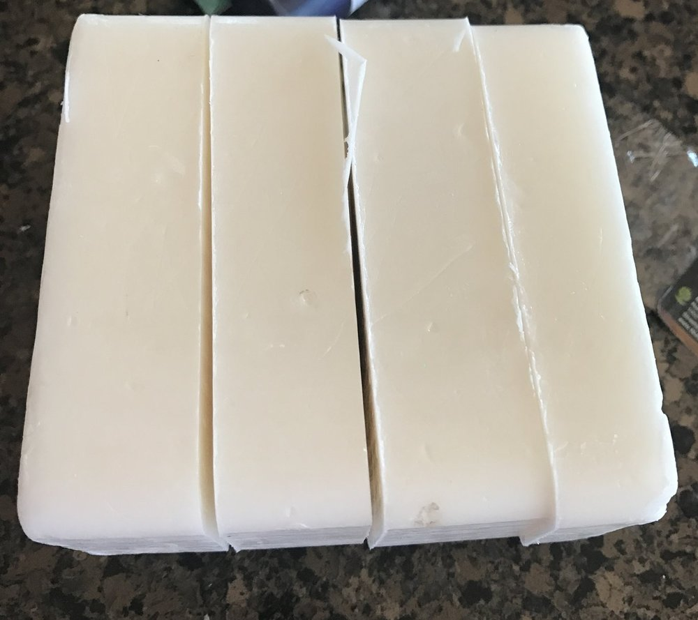 Here's a block of shea butter melt & pour soap base. I just started cutting it up into 1 inch cubes, and I remembered I'd better take a picture!