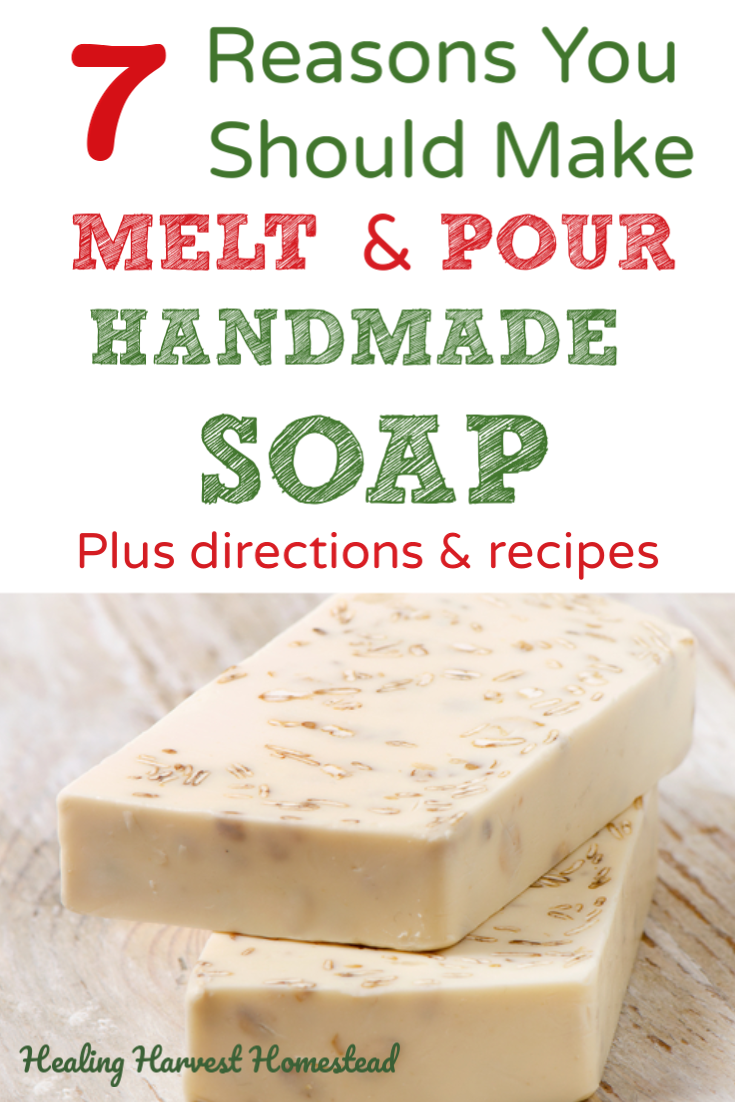 Can you make soap without using lye? Yes! It's called Melt & Pour handmade soap making. Find out why melt and pour is a great handmade soap making option, plus directions and 5 recipes! These make perfect quick and lovely presents to gift during the holidays! So easy a child could make these as a great gift project. #meltandpour #handmadesoap #natural #soap #handmade #easygift #diygift #holiday #directions #howtomake #recipes