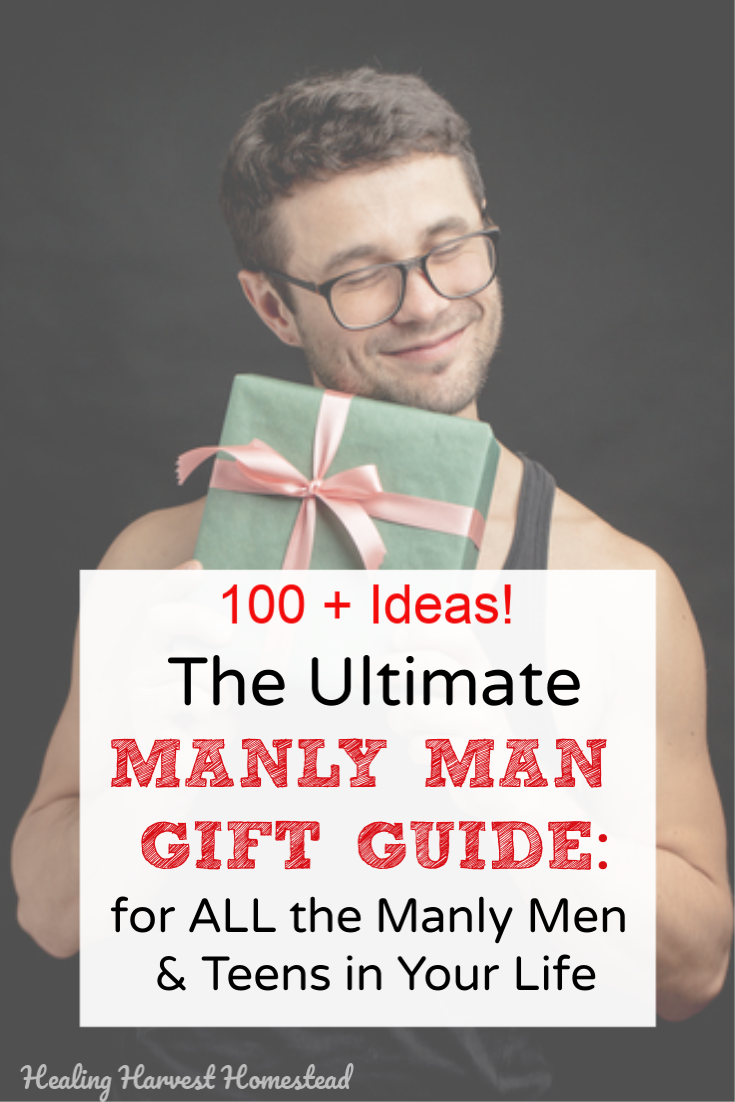 Men can be hard to buy gifts for! Well, in this guide, you'll find gift ideas for EVERY kind of Manly Man! Outdoorsman, survivalist, golfer, skater, gamer, businessman, traveler, the muscle man, camper, the regular guy, the kayaker, and LOTS more! Your man is here! #gifts #men #man #giftideas #whattoget #formen #survivalist #skater #gymrat #kayaker #businessman #golfer #healingharvesthomestead