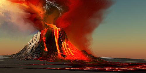 A huge volcanic eruption (or a series of them) could partially cover the sun, causing a cold summer in which nothing would grow.