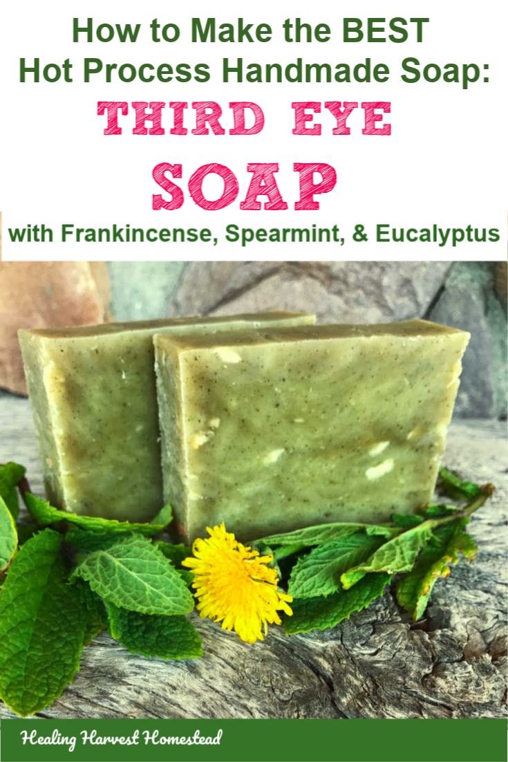 Want a wonderfully skin softening, soothing handmade soap with excellent lather? It's all natural, made with essential oils. Here is my Third Eye Soap recipe, which was one of the most popular soaps I sold years ago in my shop. I'm now sharing it with you! It's great for mental clarity and waking up in the morning too. Find out how to make this hot process soap recipe. #handmade #soap #hotprocess #howtomake #homemade #healingharvesthomestead #meltandpour #natural #essentialoilblend