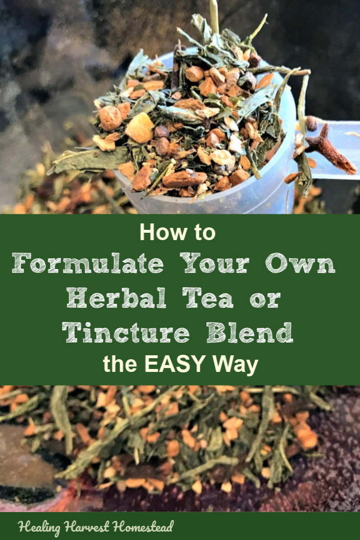 One of the questions I get asked as an herbalist is how to formulate your own tea blends for your health! Here is an easy three-point triangle diagram system so you can easily create your own herbal blends for teas, tinctures, or any herbal preparation. You can and should make your own home remedies, and it's easier than you think! #herb #herbal #tea #blend #formula #formulate #howtomake #homeremedy #herbalist #healingharvesthomestead