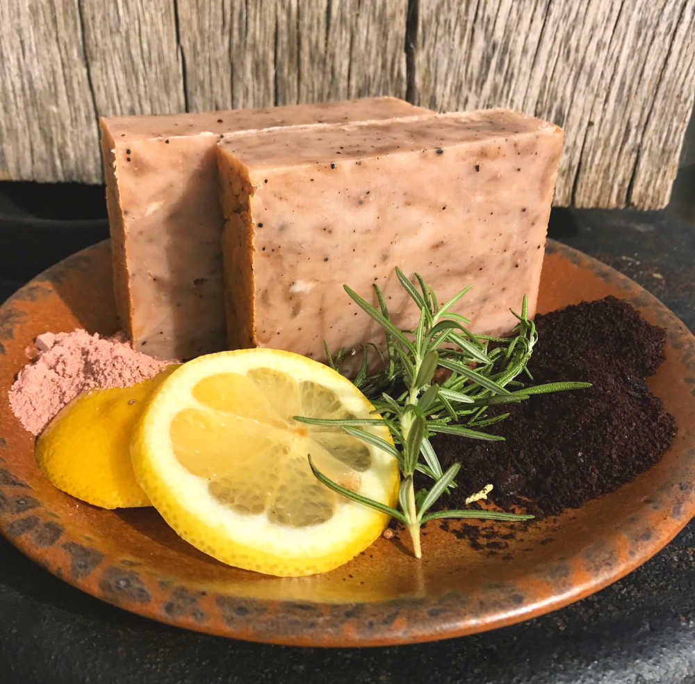 Mmmm…..Using rosemary in handmade soaps is just so good for the health of your skin.  This cellulite scrubbing soap  contains rosemary for circulation as well as coffee for the caffeine. It's a wonderful skin-tightener!