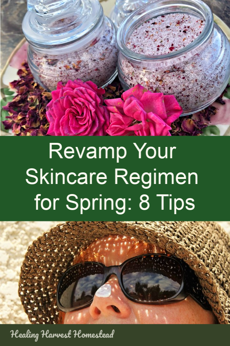 The warming days of Spring mean it's time to adjust your skincare routine. Here are 8 tips for ways you should treat your skin as the days get warmer and longer. Natural skincare is best, so enjoy these eight ideas for creating beautiful skin. You might be surprised at some of them! #skincare #natural #routine #diy #spring #problems #skin #healingharvesthomestead