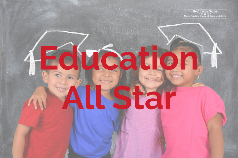 Education All Star Education Freedom All Star - Honor received for work on House Bill 1080, Achievement School District during the 2015-16 legislative session as well as his continued work to ensure equity in student funding for all students.