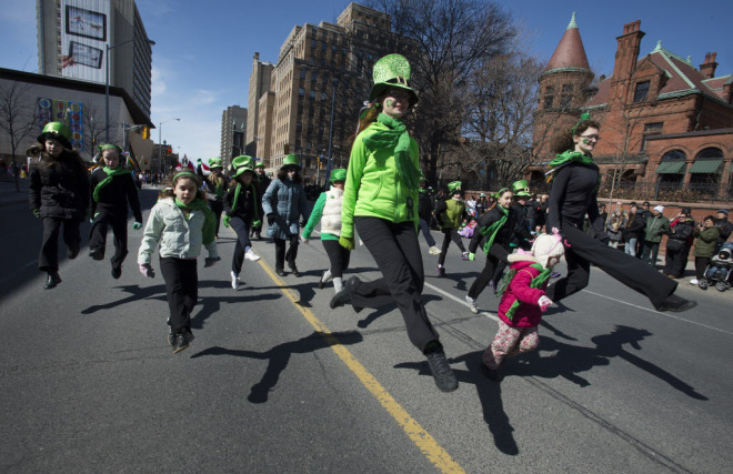 TORONTO, ONTARIO: MARCH 17, 2013-- ST. PATRICK'S DAY -- Traditional dancers take part in the Toronto St. Patrick's Day Parade, Sunday March 17, 2013. [Peter J. Thompson/National Post] [For National story by /National] //NATIONAL POST STAFF PHOTO ORG XMIT: POS1303171538163591