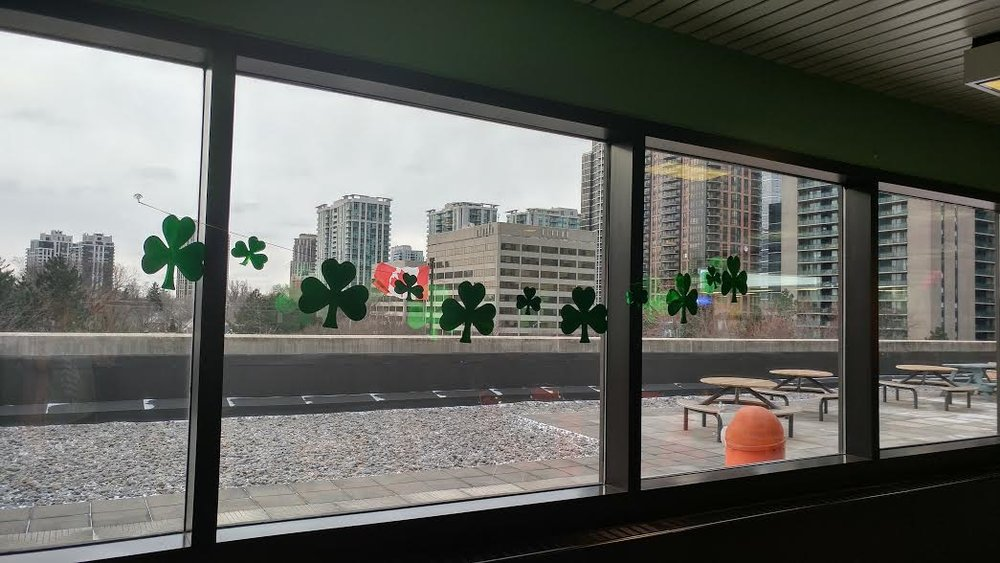 I love that they decorate for things like St. Patrick's Day at work!