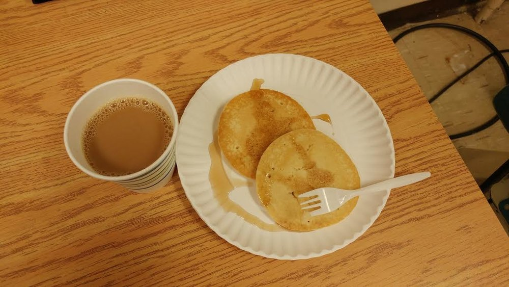 Free pancakes and coffee at work for Shrove Tuesday. Yum!
