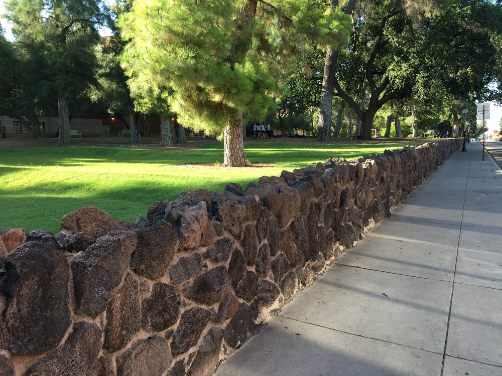 The wall along Park Avenue on the University of Arizona campus. Old photos show this wall was there by at least 1916.