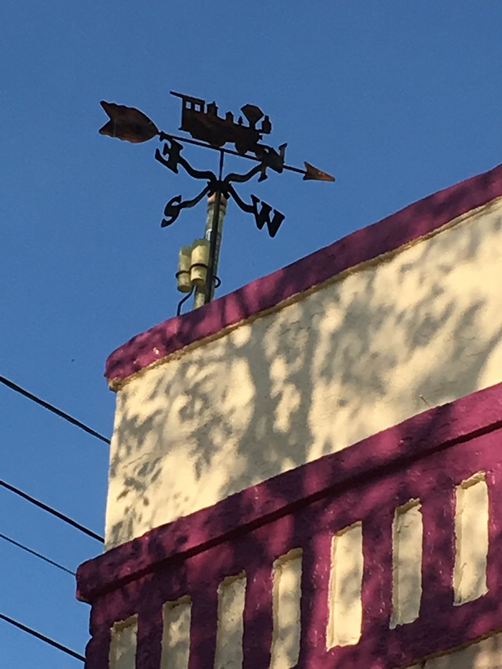 This vane in the Armory Park neighborhood downtown is part of a building with a lot of train motifs. It is also close to the Southern Pacific railroad tracks.