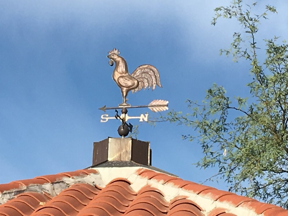 This rooster doesn't have any particular connection to Tucson, but roosters are a popular weather vane the world around. Perhaps it has something to do with rising early to meet the morning sun? This guy is on top of a downtown Tucson park behind the main fire station.