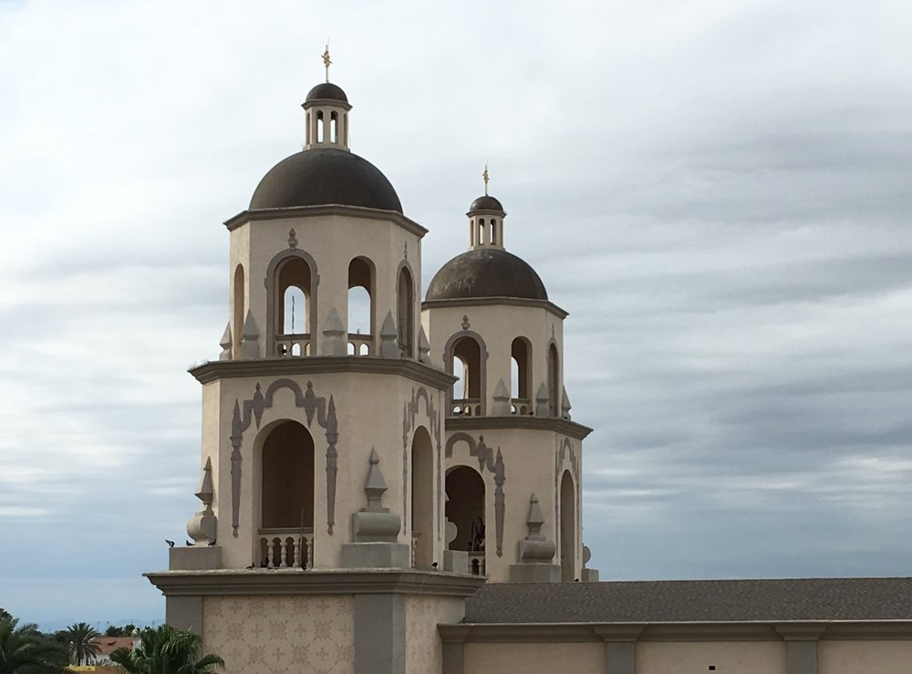 The bell towers at San Augustine cathedral.