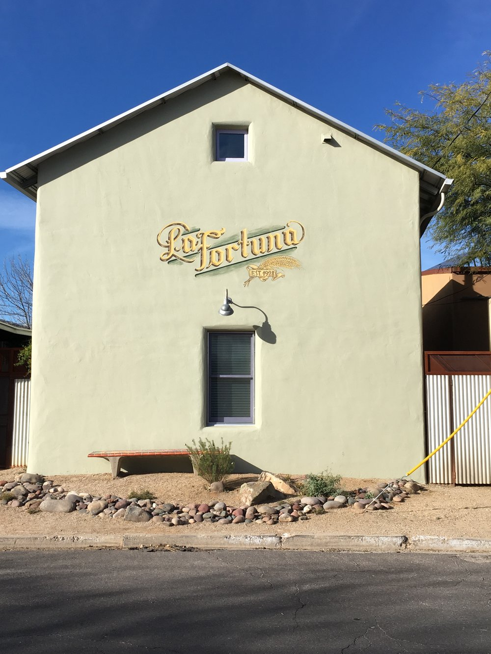 La Fortuna was at 638 S. Meyer in the early 1900s. This is not the original building (the current structure was built within the past 20 years), but I love that the owners are honoring the past.    The best story about La Fortuna appeared in the Tucson Citizen in 2006. It was written by freelance writer Carmen Villa Prezelski. She  interviewed  Tony Figueroa, the son of La Fortuna's founder, Luis Figueroa.    She said the bakery made both French and Mexican bread, empanadas, coyotas and cochitos. Now that is Tucson style.     (Tony died in 2015 and his  obituary , which mentioned  La Fortuna, was published in the Arizona Daily Star.)