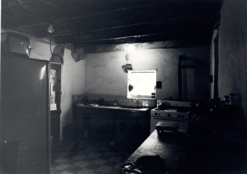 This was our kitchen in 1980. There was no drain under the sink, so we used a bucket and dumped the wastewater in the back yard.