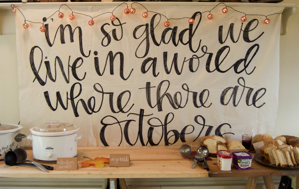 Over the summer I got to make two linen banners for a styled wedding shoot. I loved them so much that I decided to make one for the party, complete with a quote from one of my favorites - Anne of Green Gables. It was supposed to hang on a lattice at my parents' house, so it was a little bit too long for behind the food table, but it was still one of my favorite parts of the party!