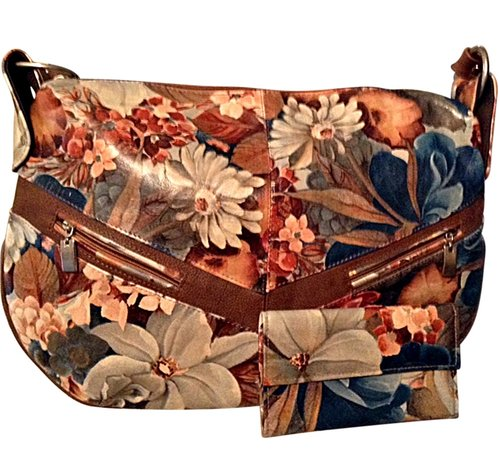 b257f9f92c0da Argentinian Floral Leather Baguette Tote Shoulder Bag   Matching ...