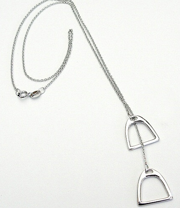 """Charms 925 Sterling Silver Double Horse Stirrups Pendant Equestrian Necklace 18/"""""""