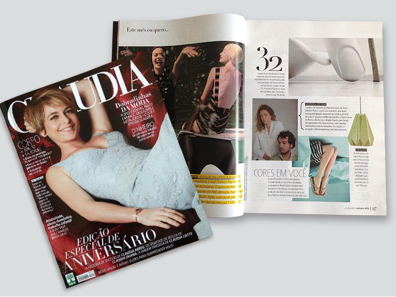 Nosso pendente  Pinho  Moscatel no  este mês eu quero  da Revista Claudia - Out.2016