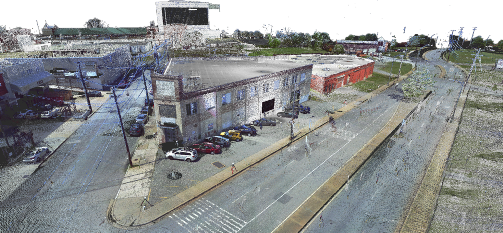 Above: Point cloud data collected for Sauer Properties Inc.of 2000 W. Marshall (center), 840 Hermitage (right), and the Putney Building (background).
