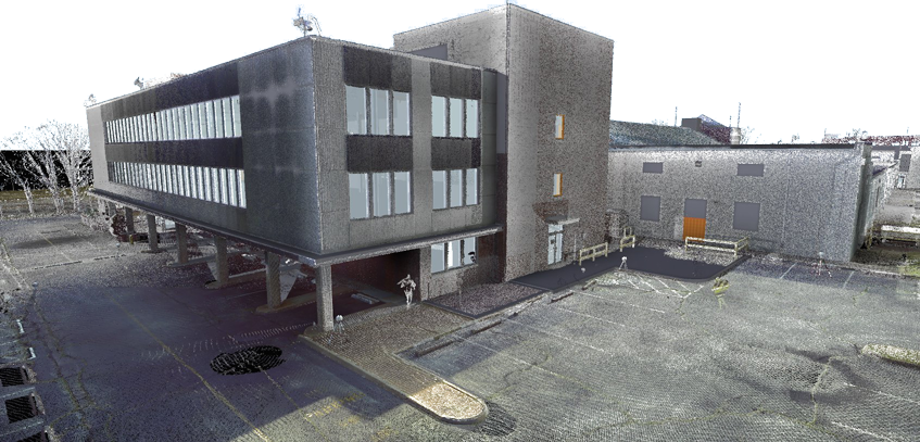 Above: Point cloud data overlaying the Revit model. Back of Putney Shoe Factory