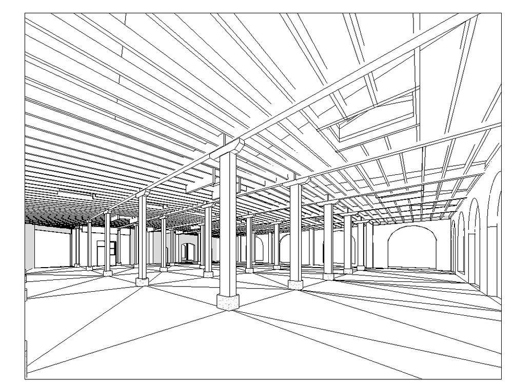 Above: A 3D view inside the 840 Hermitage Revit model.  Rendering mode set to wireframe.