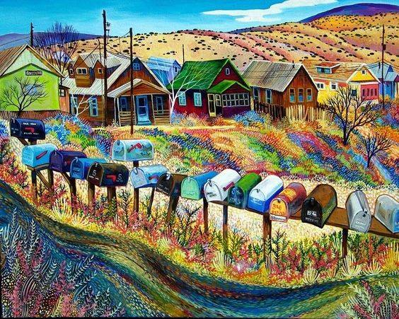 """Miner's Row"" Madrid NM by Sally Bartos https://www.facebook.com/SallyBartosFineArt/"