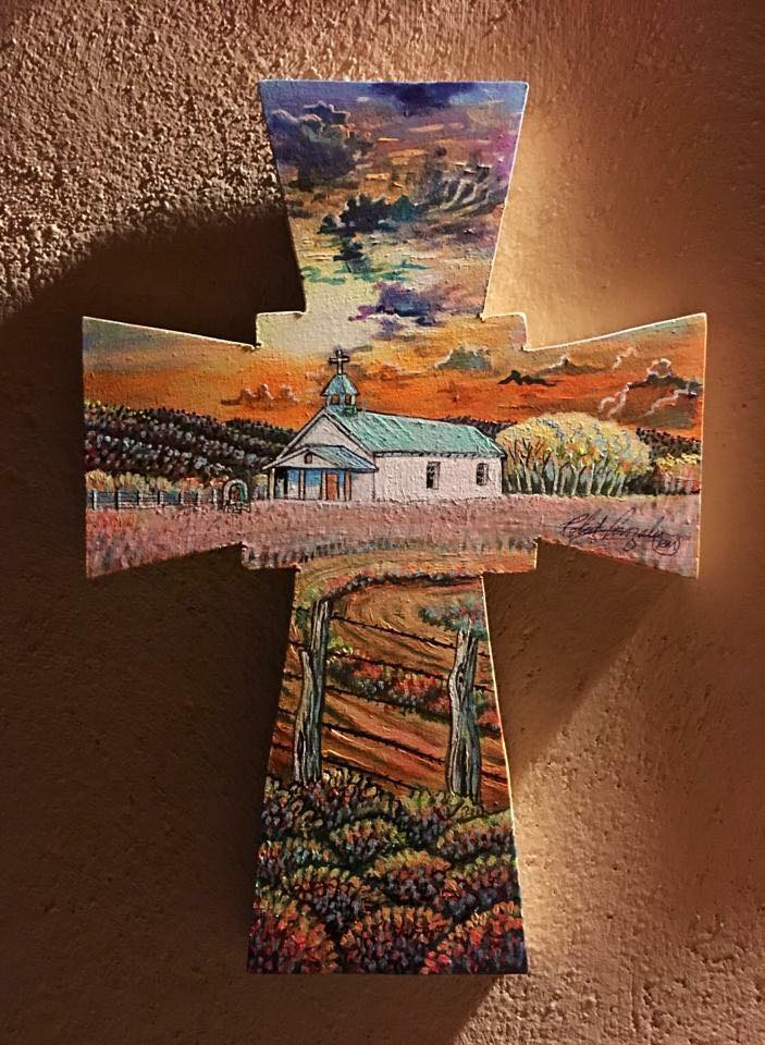 "Touch of Heaven (Amalia, New Mexico) 13""x 9"" hand painted cross by Robert Gonzales"