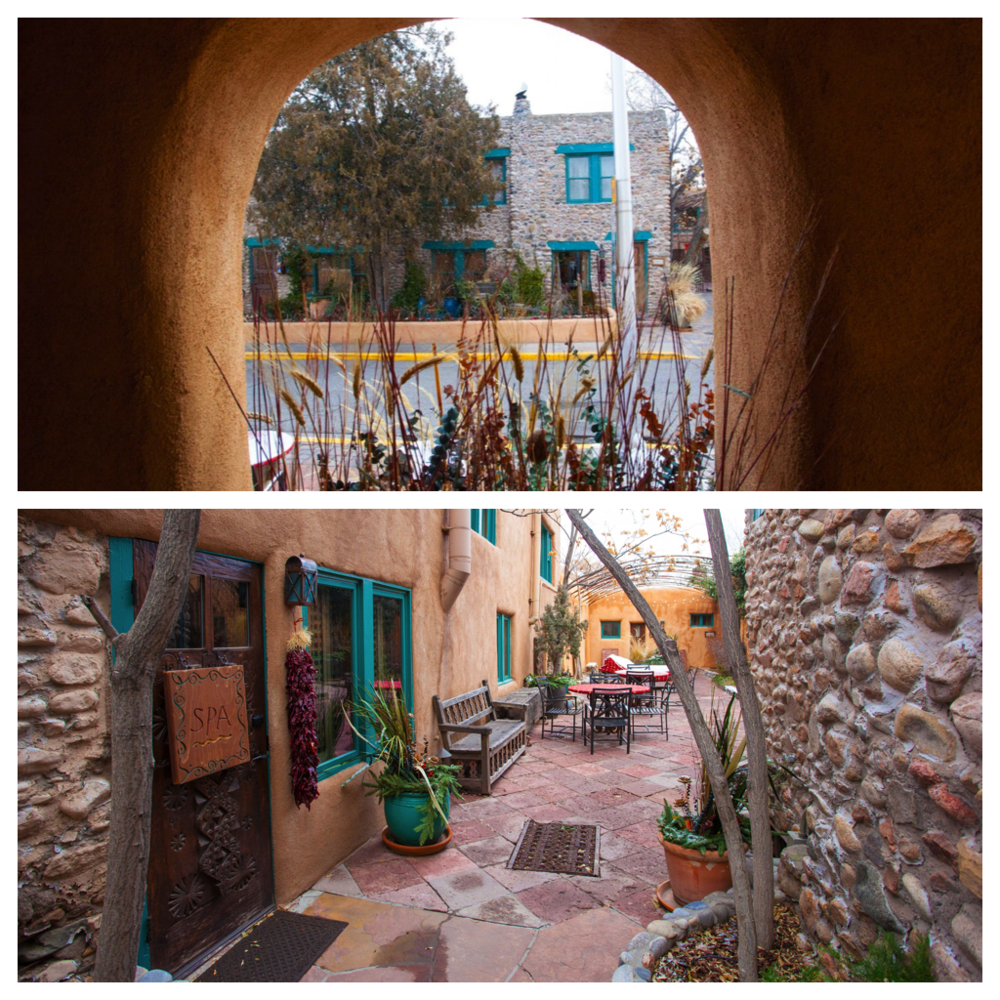 Top: view of the stone house from the lobby of Inn of the Five Graces. Bottom: the courtyard behind the stone house where their Tibetan themed spa is located.
