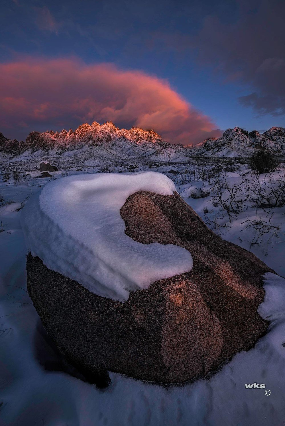 Boulder In The Snow Organ Mountains El Nino sent us a nice present on the day after Christmas. I had to get out and take photos of our Organ Mountains here in Southern New Mexico. Wayne Suggs Photography   https://waynesuggsphotography.smugmug.com/
