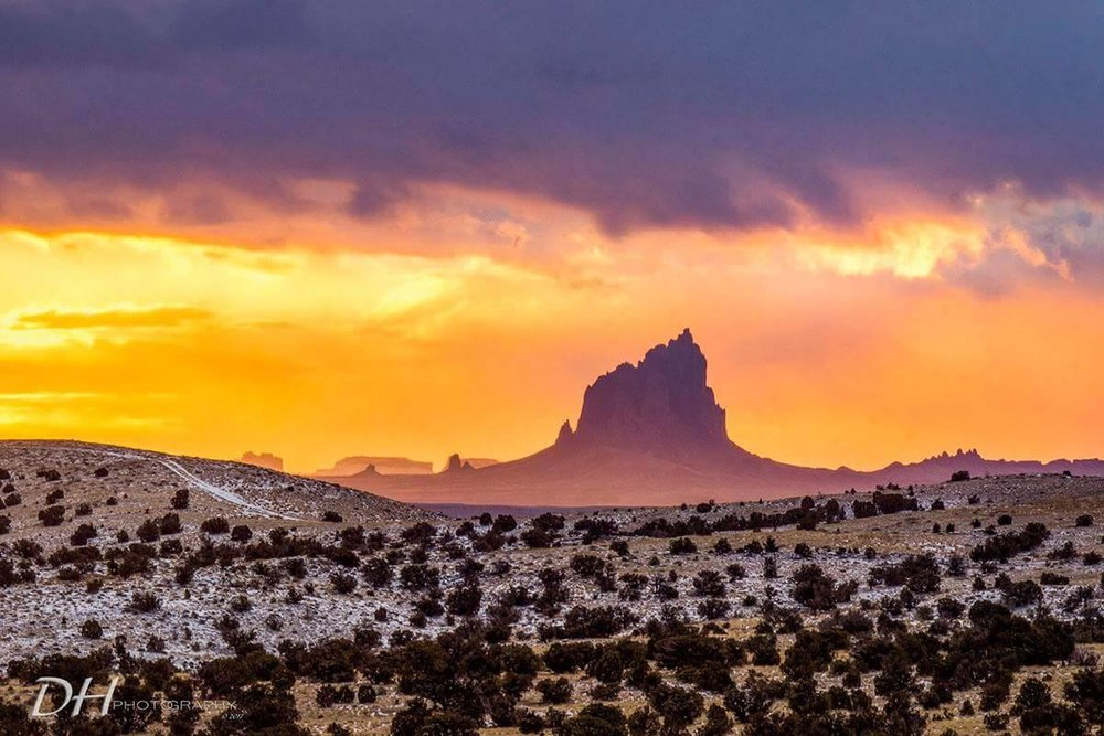 Winter Sunrise on Shiprock Pinnacle  Beclabito, NM  Photo by Dean Howard