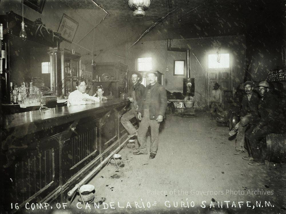 Anyone up for a drink in this place?  Interior of saloon, Santa Fe, New Mexico  Date: 1900?  From  Palace of the Governors Photo Archives