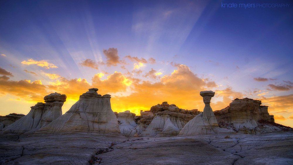 """Badland Sunrise""  After a night of photographing the stars and Milk Way in the Ah-Shi-Sle-Pah Wilderness, I was treated to a beautiful sunrise behind the hoodoos and rock formations in this area.    www.knatephoto.com    Knate Myers Photography"