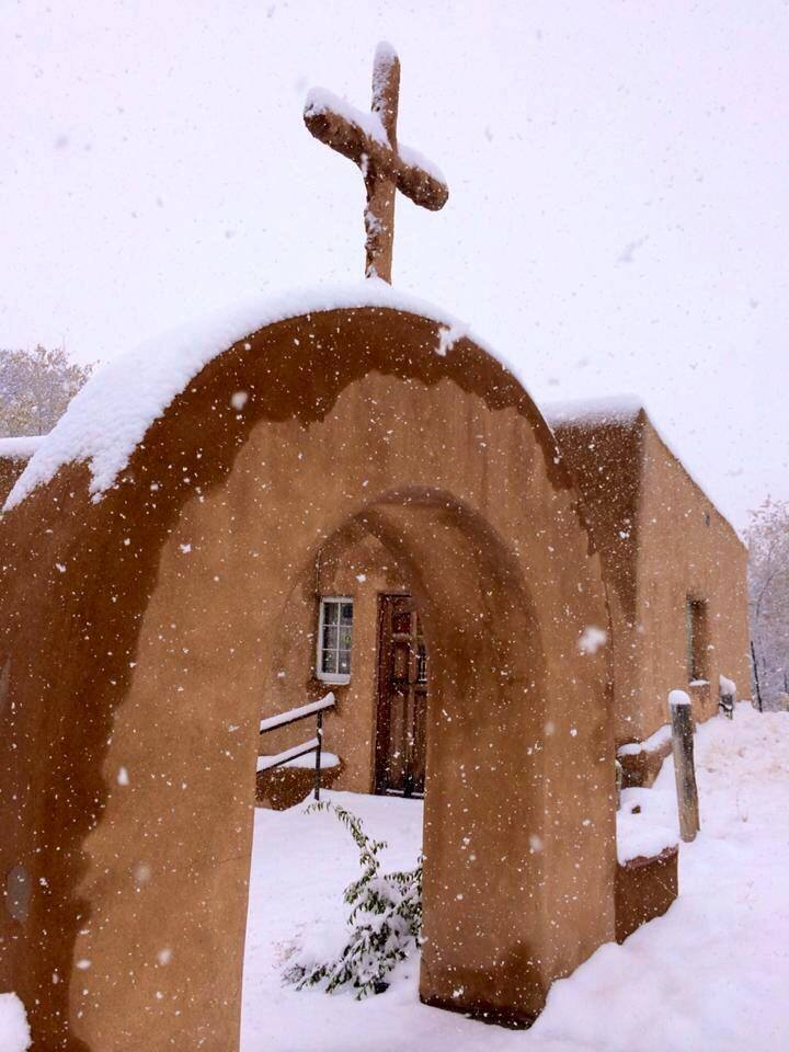 Looks like NM will be getting some snow over the weekend! Here is a popular photo of Chimayo in winter, taken November 2014.  Photo by Jennifer Smith Allen