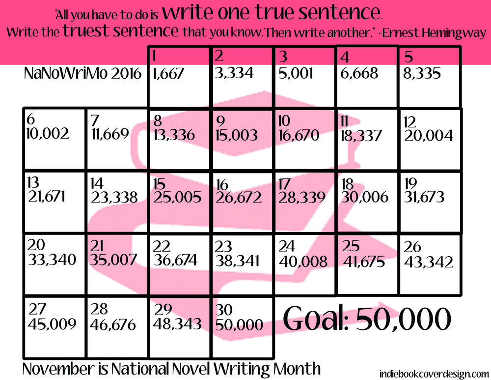 Indie Book Cover Design Nanowrimo word chart