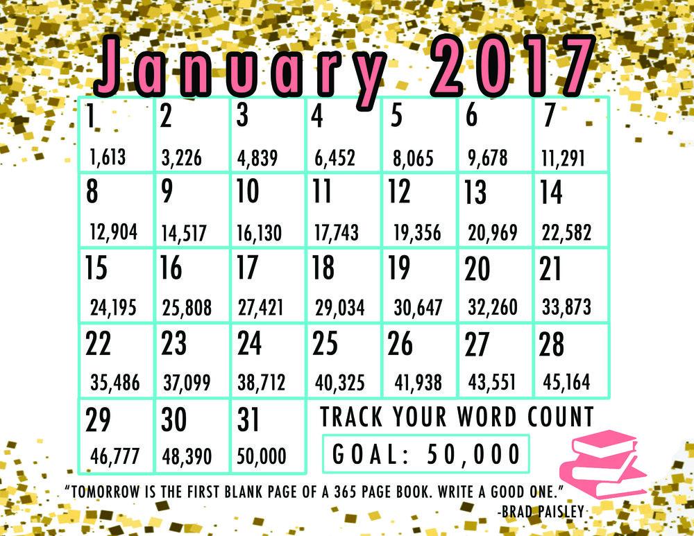 nanowrimo Januaray calendar