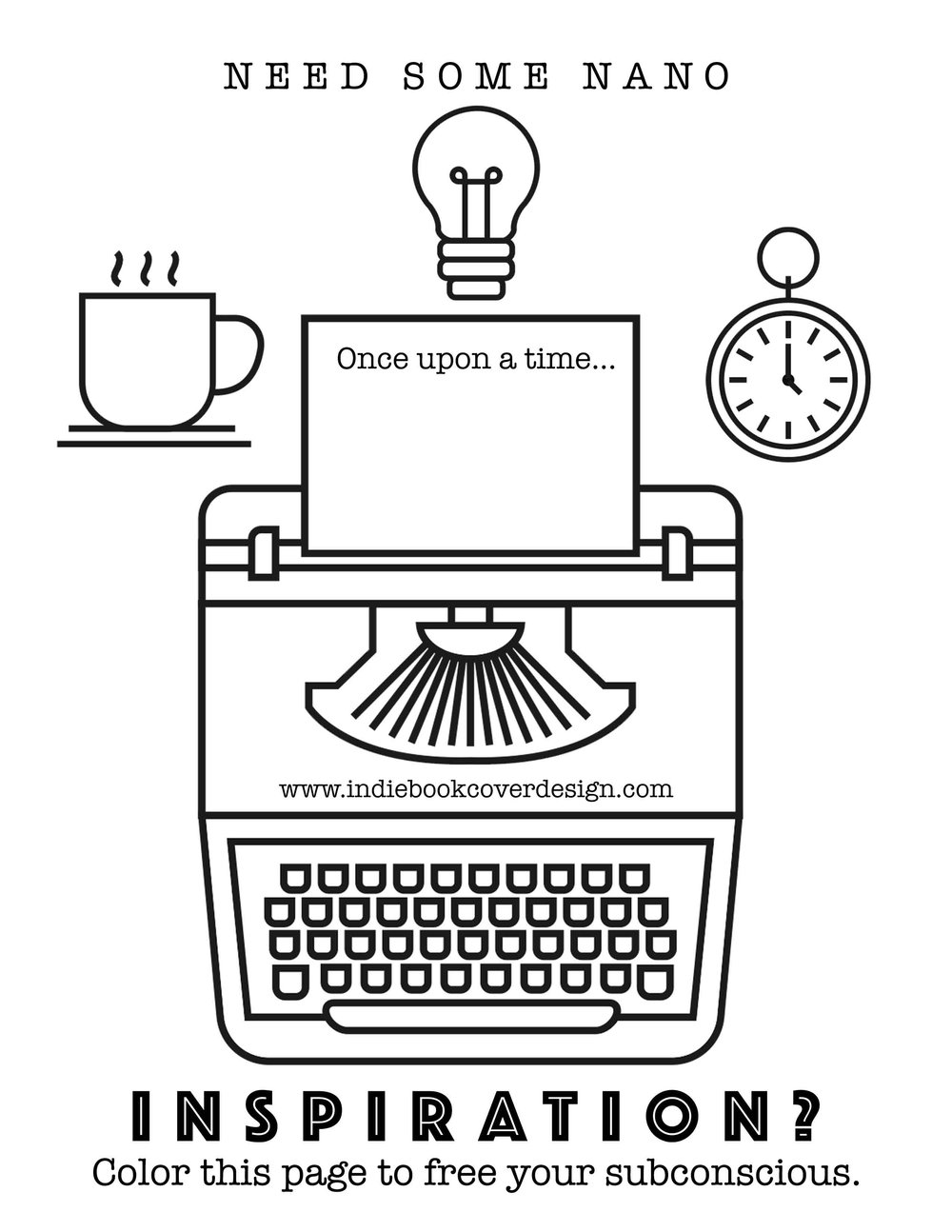 Indie book cover design nanowrimo coloring page