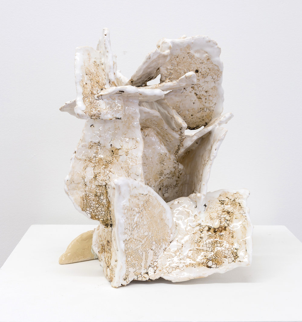 ... found, 2014 clay, glaze and epoxy 12 x 15 x 15 in