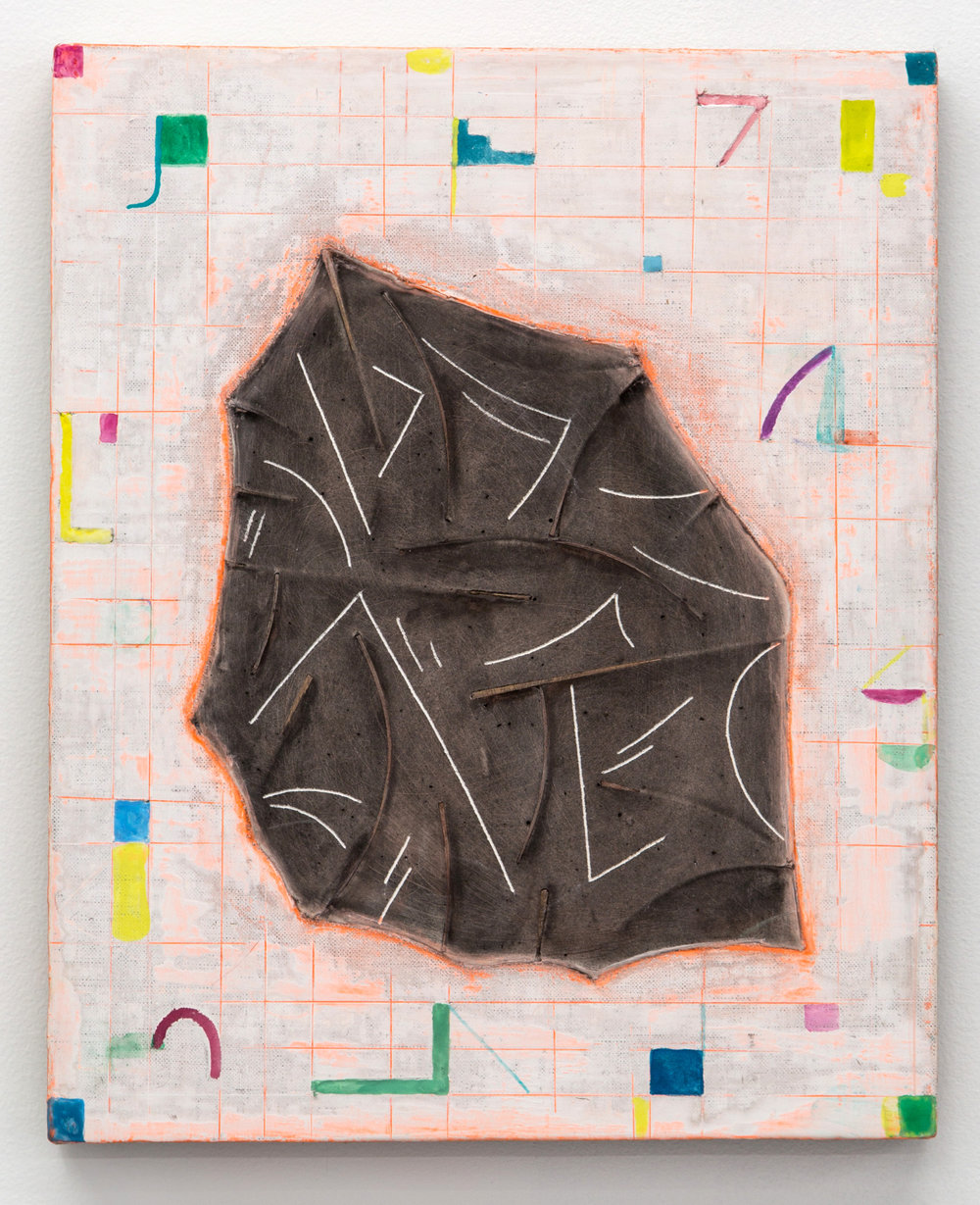 Bats and Plots , 2016 watercolor, acrylic, plaster and bamboo on linen wrapped panel 16 x 13 in