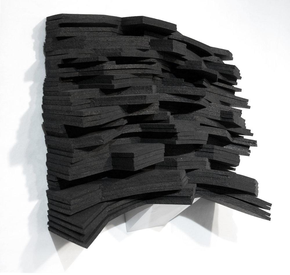 Joggins Cliff, 2016 rubber, MDF 16 x 14 x 5 in