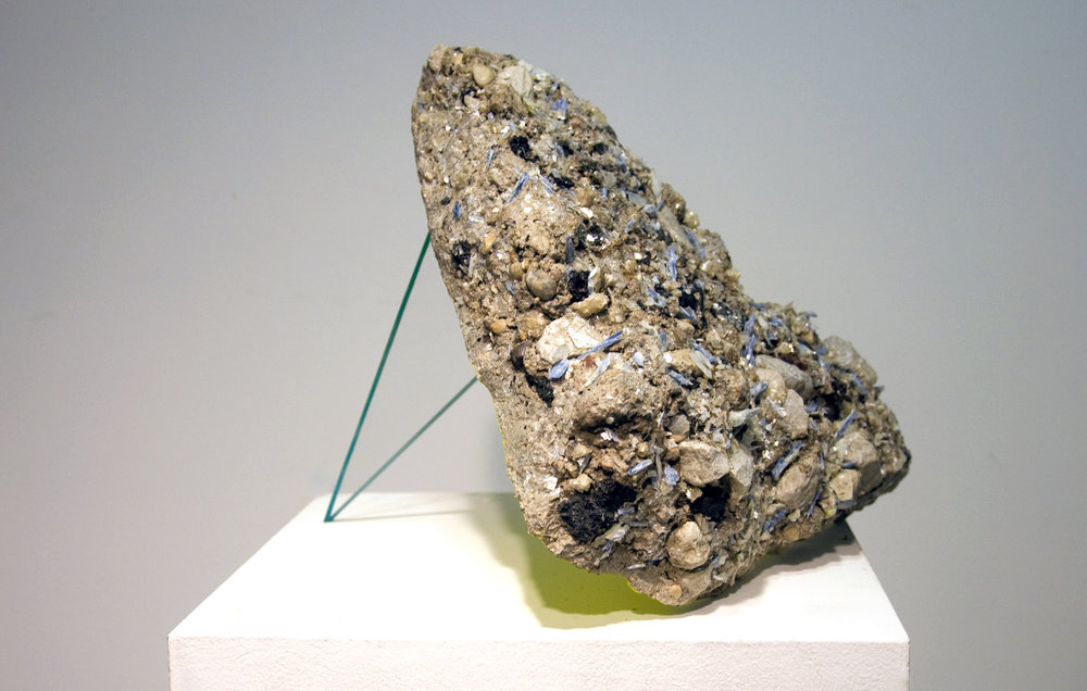 Sidewalk Prophet , 2016 star mica, kyanite, sidewalk remnant, acrylic, enamel 12 x 10-1⁄2 x 11 in