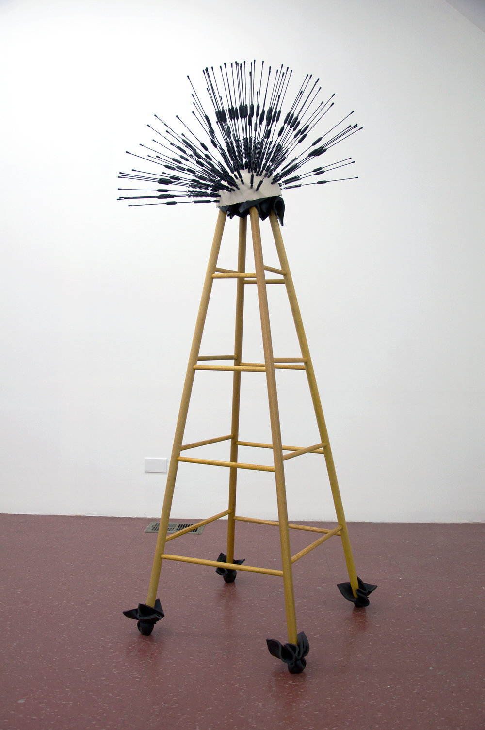 The New Wardenclyffe Folly , 2017 cellular antennas, porcelain, wood, foam