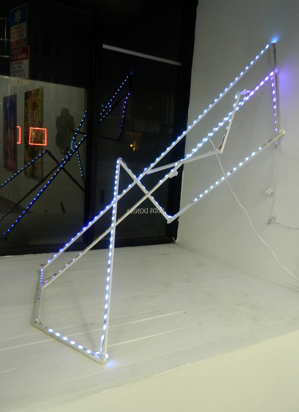 Untitled  , 2017 lumber, LED lights, staples, paint, screws 86 x 46 x 1 in