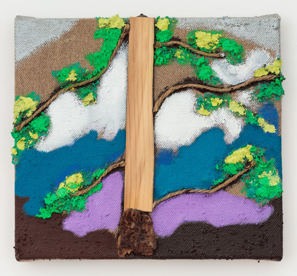 Tree , 2017 oil, acrylic, wood, saw dust and sand on linen 9 x 10 in
